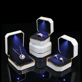 带led灯戒指盒小求婚钻戒盒珠宝首饰包装盒手链吊坠手镯项链盒子