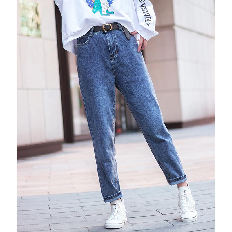 老爹裤兮小姐2019新款女早秋高腰显瘦潮学生哈伦萝卜裤春秋季限时2件3折