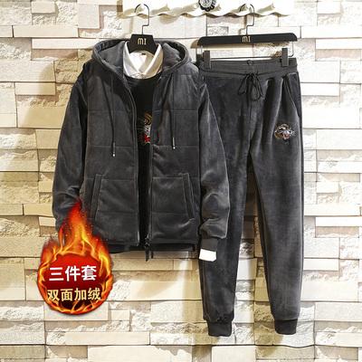 冬季金丝绒三件套男士卫衣套装双面加绒款休闲装运动服DS256TP165