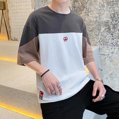 男士拼色短袖T恤2019新款潮流刺绣休闲简约五分袖上衣服DS349TP25