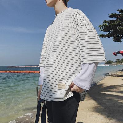 19春季新款港风男士假两件长袖T恤青年韩版潮流卫衣上衣DS42TP40