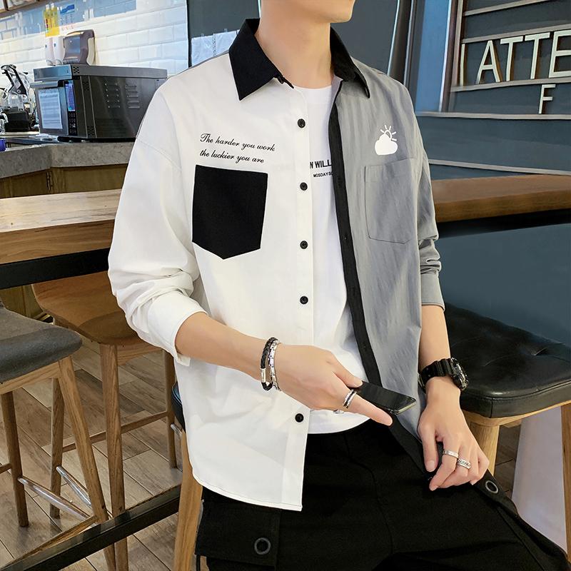 已质检 衬衫男士长袖休闲韩版潮流宽松休闲百搭衬衣外套DS937TP45
