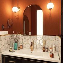 不锈钢菱形六角马赛克北欧轻奢东方白大理石背景墙厨房卫生间瓷砖