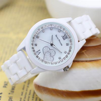 夏季手表女学生潮流时尚钻白色女士表防水手表白色陶瓷女表时装表
