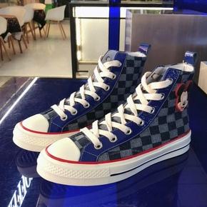 2020春季新款牛仔帆布高帮鞋女格子真皮板鞋欧洲站ins嘻哈潮品牌