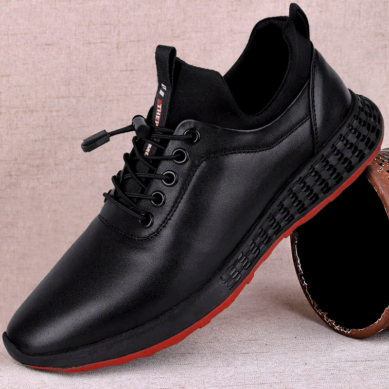 Mens sports shoes 2021 new soft soled casual mens shoes top layer leather shoes youth leather sports running shoes