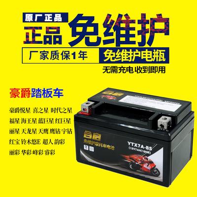 摩托车电瓶YTX7A-BS免维护豪迈豪.爵悦星125踏板配件蓄电池12V7AH