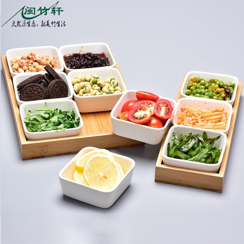 日式陶瓷分格干果盘客厅茶桌糖果瓜子坚果杂锦盒零食小吃收纳盒竹