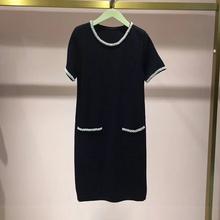 2019新款 秋圆领黑色钉珠针织连衣裙女2zn3080320 fiveplus 正品