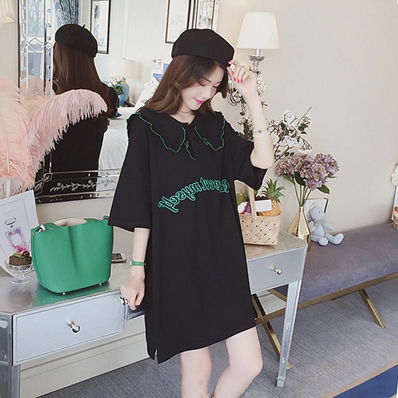 连衣裙女夏2018新款韩版学生小心机娃娃领宽松显瘦ins超火的裙子