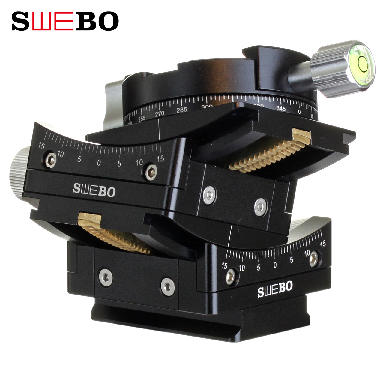 Swebo gear 3D fine tuning gon pan tilt worm gear angle fine tuning large frame axis moving building landscape panorama