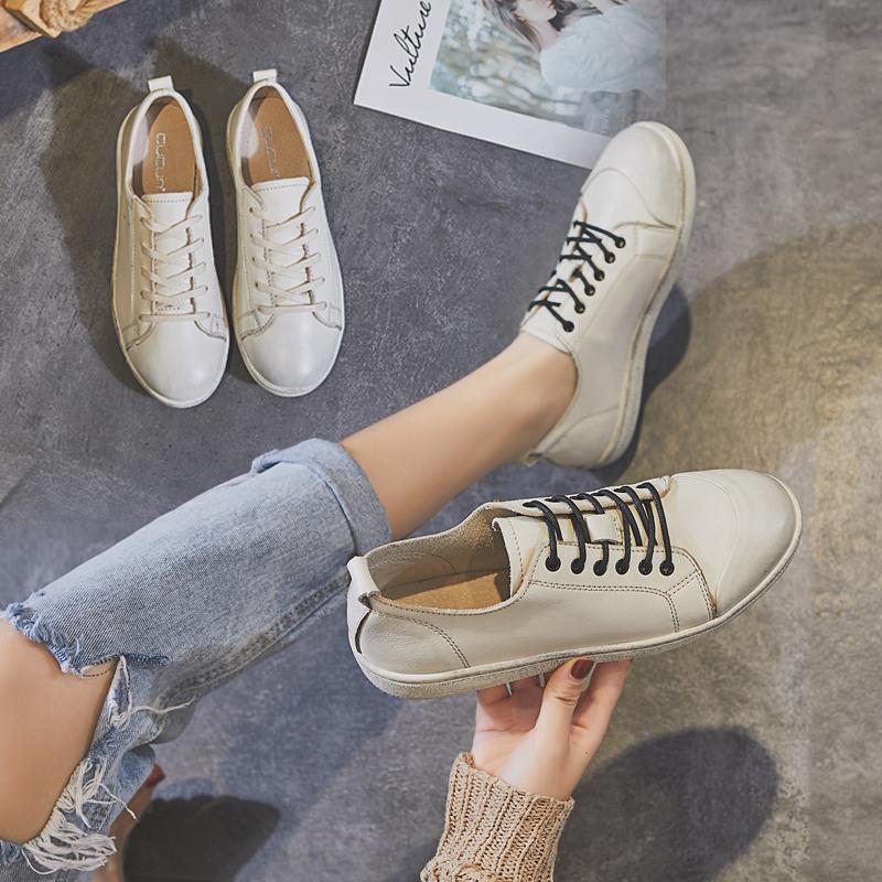 歌莉gucun秋季亚博体育app下载复古做旧女鞋休闲板鞋真皮女鞋小白鞋脏脏鞋女