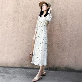 长裙2019秋装新款韩版七分袖收腰显瘦法式小众v领雪纺波点连衣裙