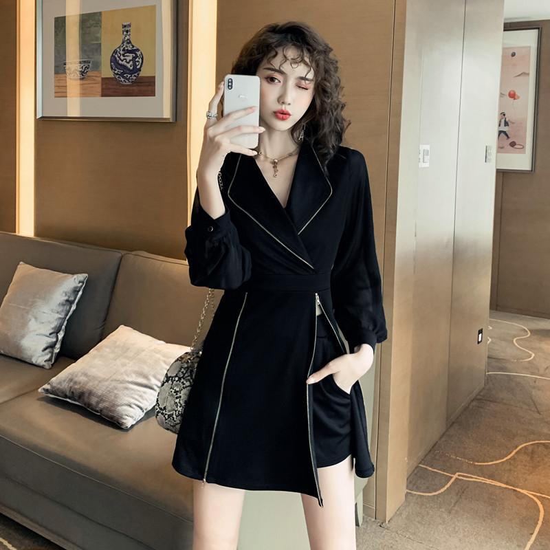 正品保证秋装女套装显瘦小个子秋季时尚连衣裙洋气减龄气质西装领两件套裙