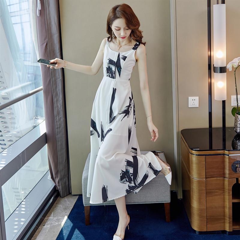 (用3元券)连衣裙2019新款夏收腰显瘦气质裙子仙女超仙森系吊带长裙厌世印花