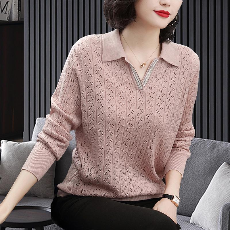羊毛衫女士秋装宽松2019秋季新款大码长袖针织衫上衣妈妈打底毛衣