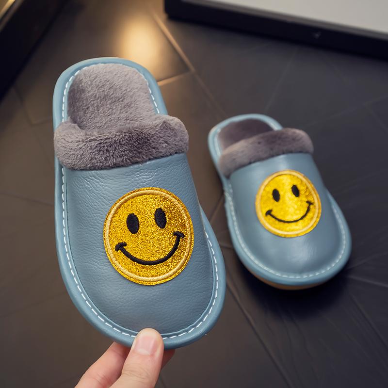 儿童真皮笑脸棉拖鞋秋冬毛毛绒女冬季居家室内防滑防水男家用宝宝
