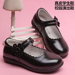 百慕达儿童女童皮鞋牛皮春夏学生鞋黑色皮鞋真皮公主鞋女大童皮鞋
