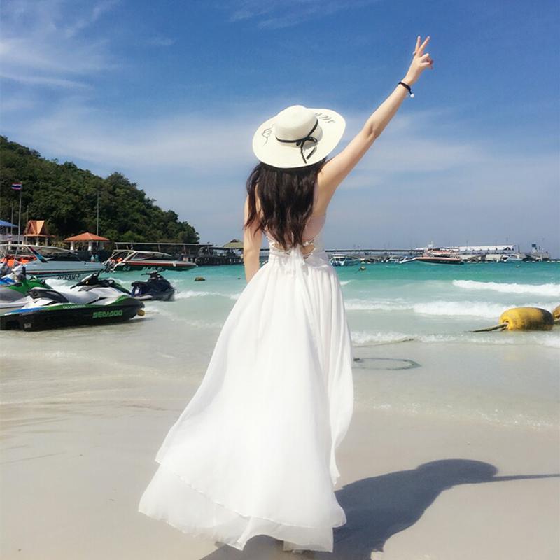 White Chiffon floor down skirt open back seaside slim Holiday Beach skirt Bohemian long skirt suspender dress