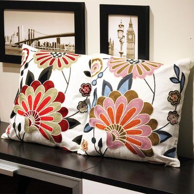 美式田园沙发刺绣花抱枕床头靠垫套客厅家用小清新加厚棉布靠枕