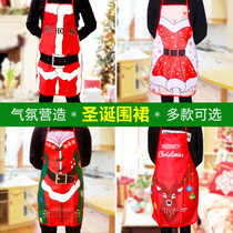 Christmas Dress up bar restaurant Waiter Kitchen Creative Santa costume adult Snowman Red Apron