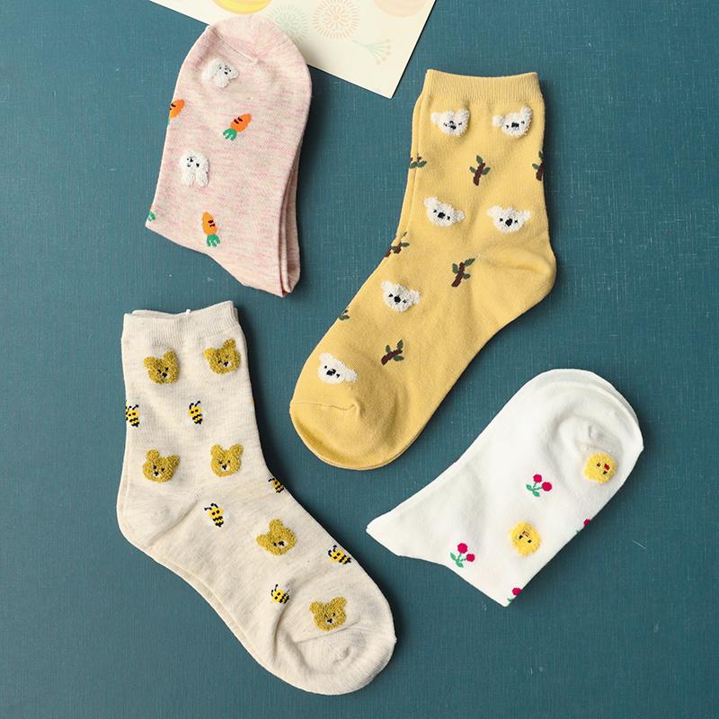 3双装卡通动物水果提花袜中筒袜限8000张券