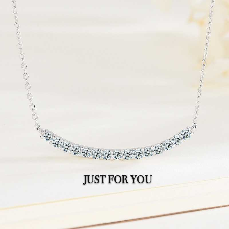 Justforyou light luxury Shijia Seiko Necklace 925 sterling silver net red smile necklace with diamond clavicle chain