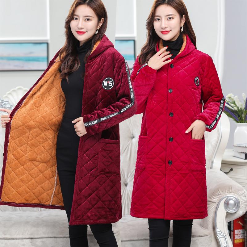 冬季女装棉袄加厚加绒夹棉保暖罩衣中长款金丝绒棉服加肥加大外套