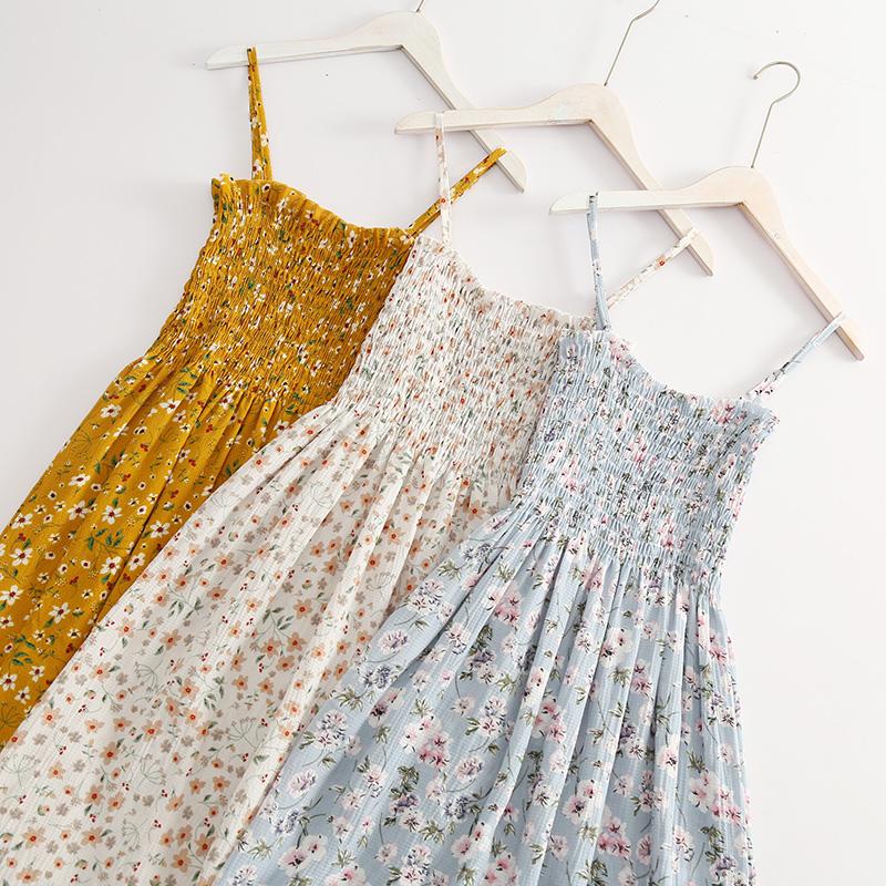 2018夏季新品韩版气质性感吊带裙高腰修身百搭碎花雪纺中长连衣裙