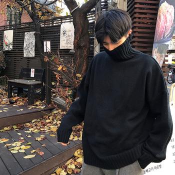 韩版加厚黑色高领男潮ins毛线衣