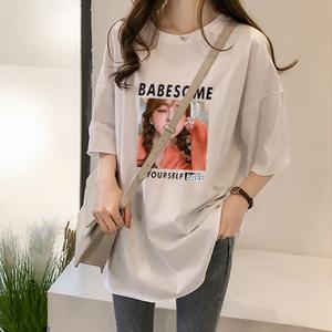 1622#180克双磨初夏chic短袖女2019新款韩版学生宽松休闲时尚T恤