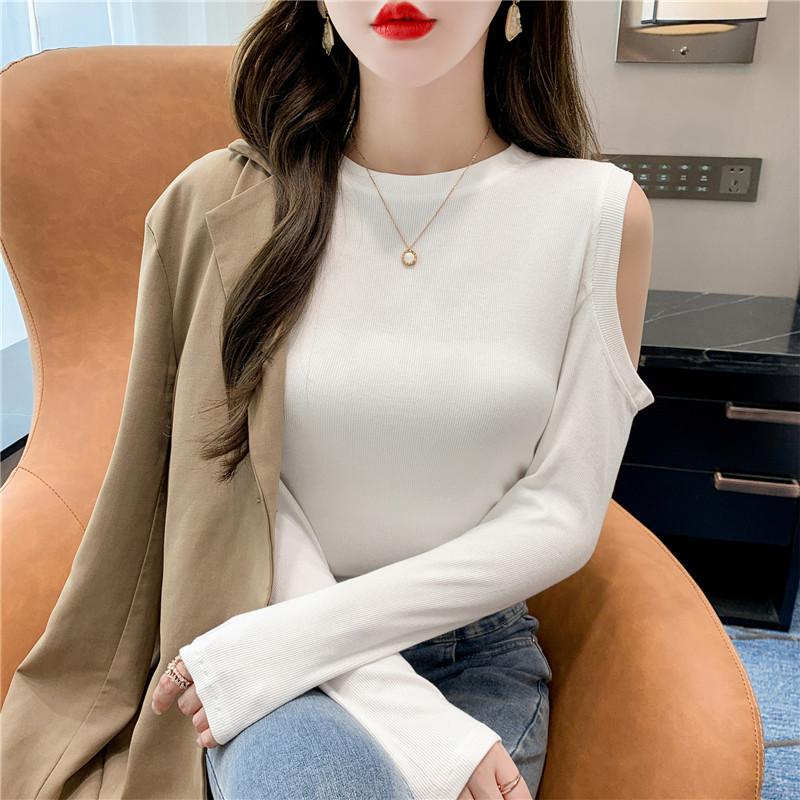 1522#实拍实价 人棉92 氨纶8 设计感不对称露肩螺纹长袖T恤女早秋