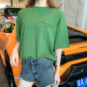 4094#亚博国际在线娱乐官网线路检测港风短袖t恤女宽松大版学生ulzzang慵懒风卡通印花上衣