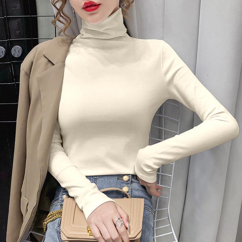 0196#实拍实价 双面德绒 2021秋季纯色高领修身显瘦长袖打底衫女
