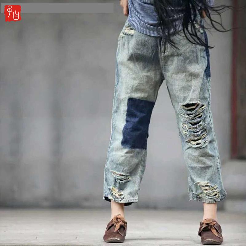 券后135.00元包邮 原创可以凹造型的阔腿裤 牛仔磨破做旧拼色休闲裤破洞裤女裤