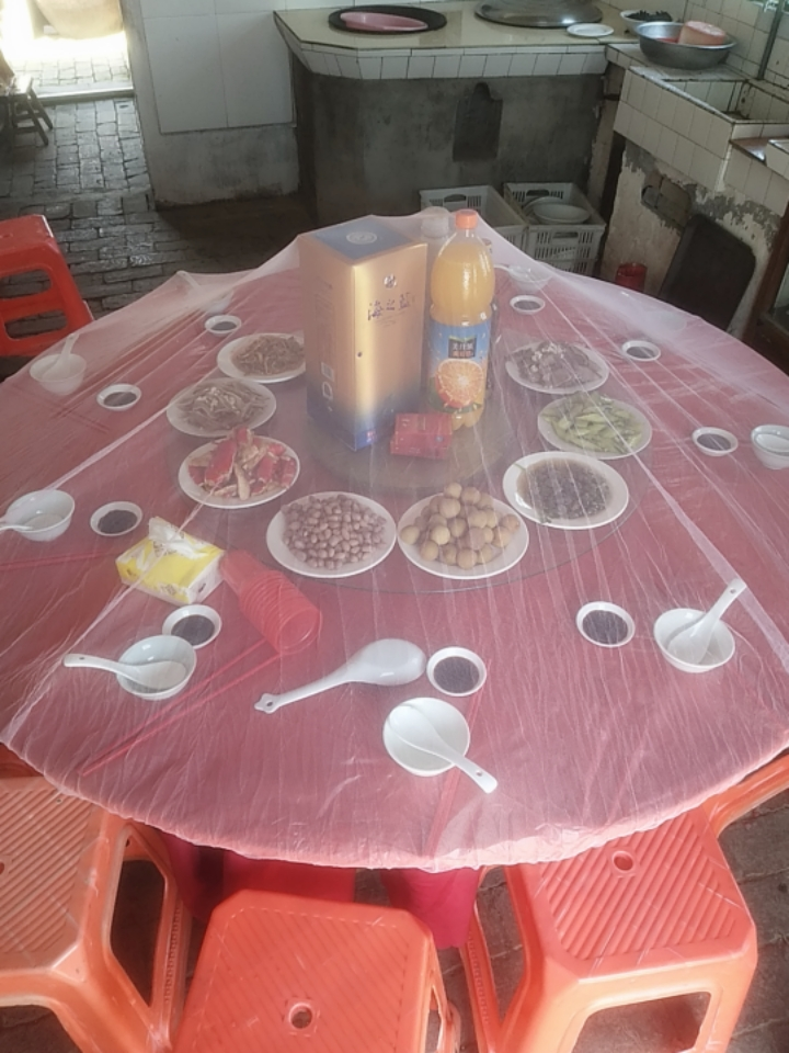 Hotel rural banquet enlarged round table fly proof cover dustproof large meal cover table gauze cover