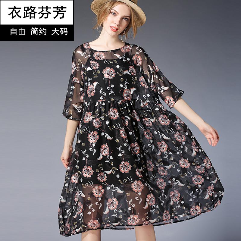 衣路芬芳大码女装200斤胖mm高腰宽松印花雪纺连衣裙遮肚裙