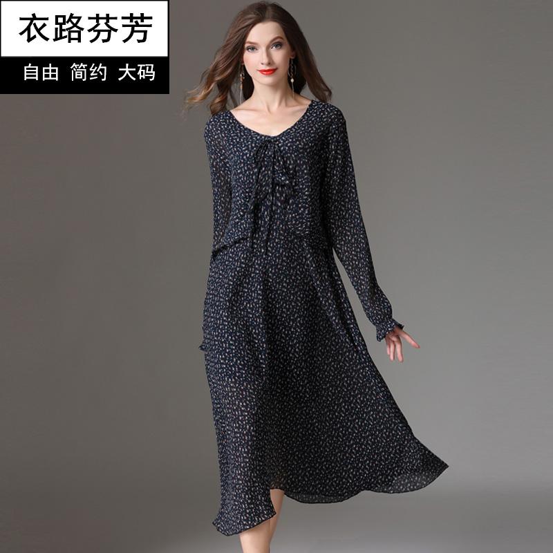 衣路芬芳大码女装胖mm新款2018秋冬弹力雪纺长袖遮肚子减龄连衣裙