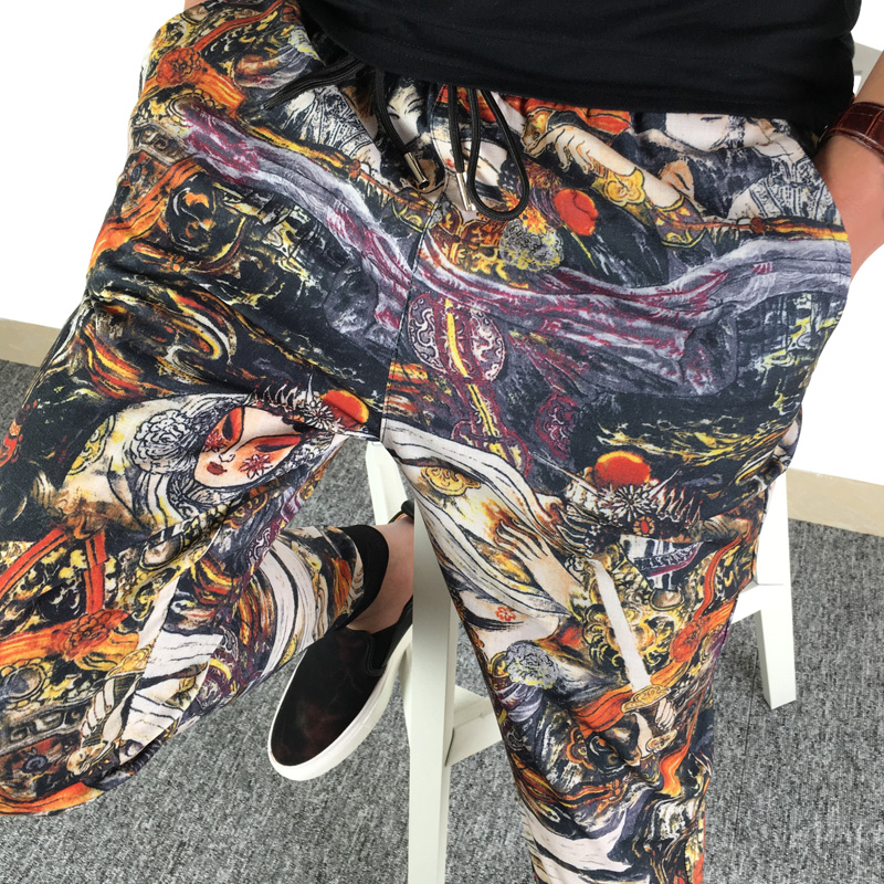 Chinoiserie printed leggings, spiritual society, mens pants big size, slim fit, summer hemp cotton casual pants mens trend