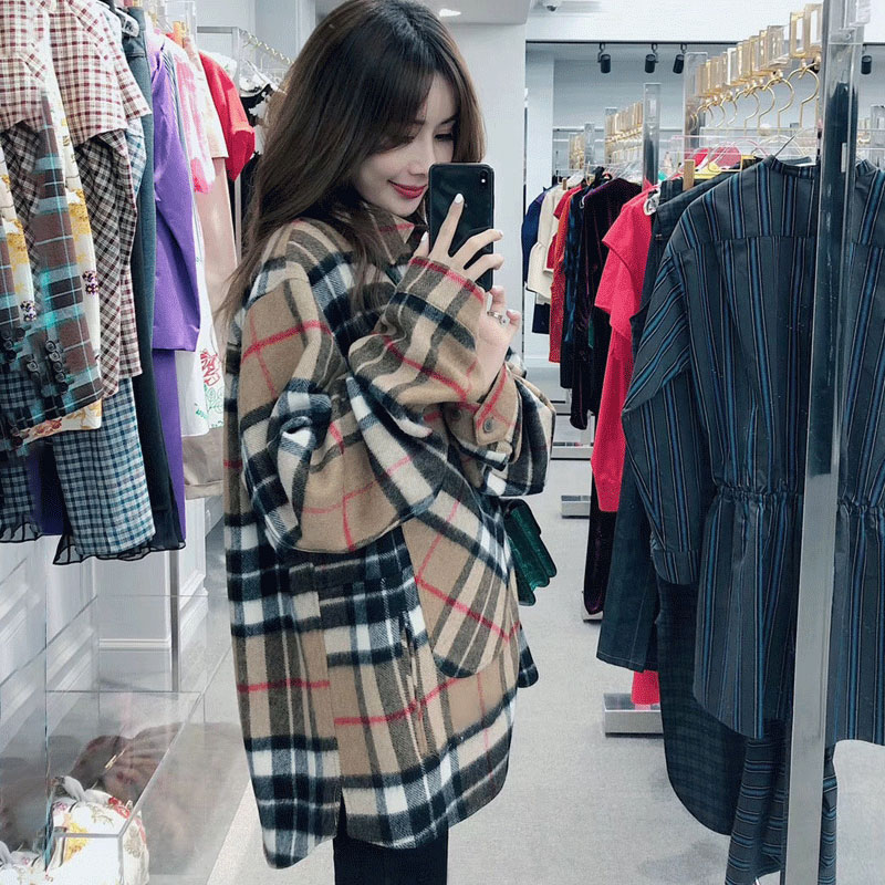 Wool cashmere Plaid Shirt women's 2021 spring and autumn winter Korean version loose long sleeve Ouyang Nana same thickened coat