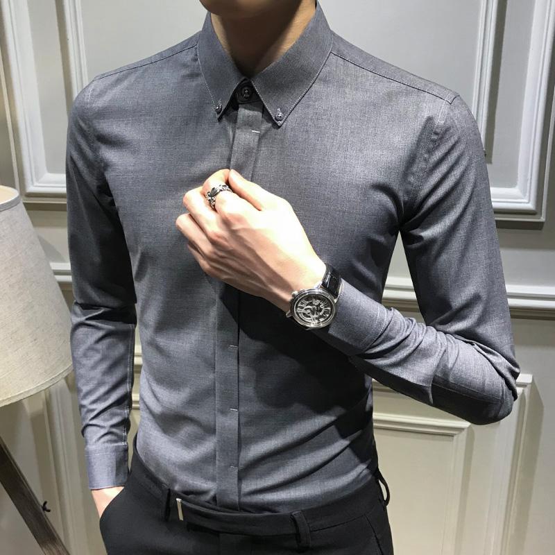 买三送一灰色长袖衬衫男韩版修身时尚暗扣男士休闲衬衣潮流帅气商务寸免烫