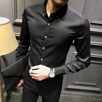 男士竖条纹修身衬衫男长袖韩版黑色潮流加绒衬衣帅气正装休闲商务