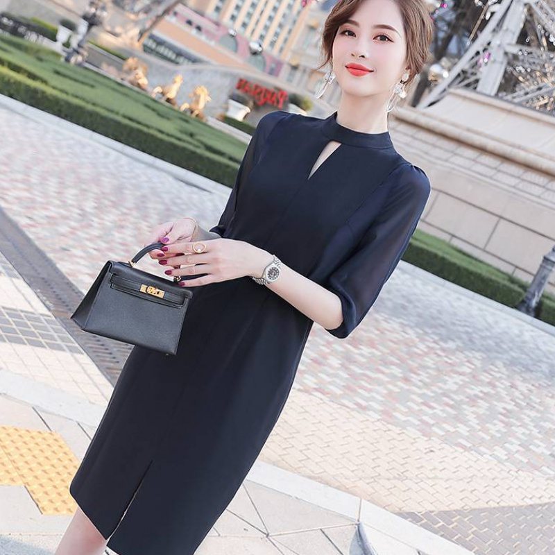 Large size elegant office dress womens business commuting daily small dress spring new mid skirt