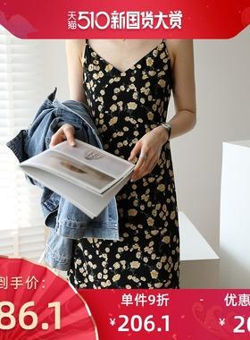 2021新款v领法式复古雪纺碎花连衣裙女夏吊带裙修身显瘦气质长裙