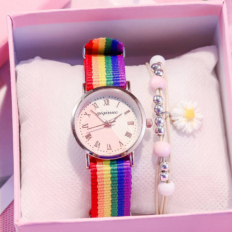 Ancient style watch Chinese style female student Korean version ins Fengsen girl retro Roman rainbow canvas belt personality