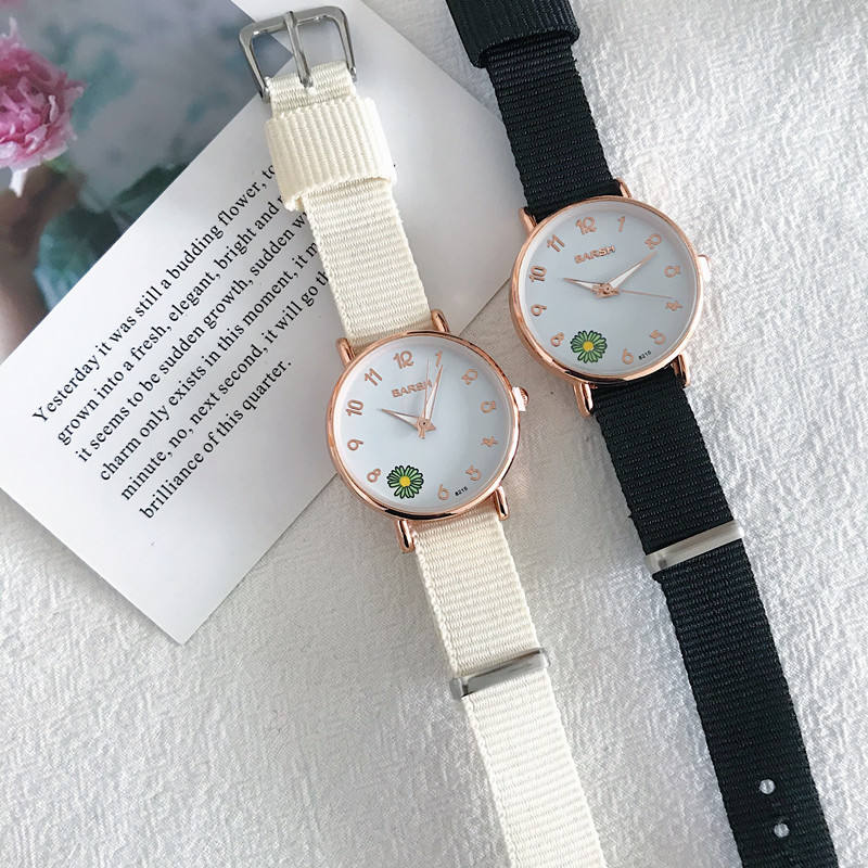 Small daisy canvas watch female simple temperament college style girlfriends a pair of student sisters two or three electronic watch