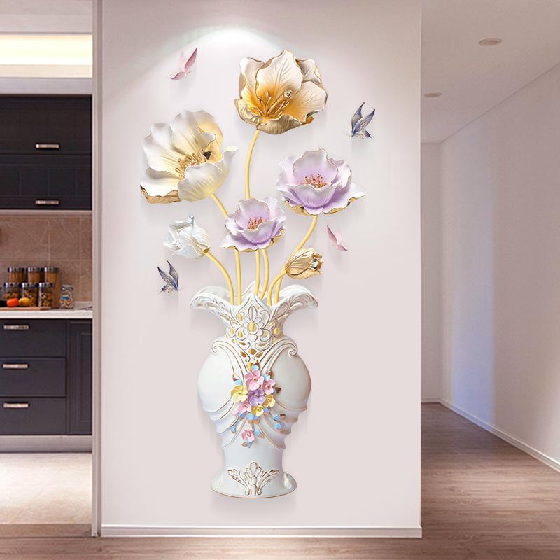 荷花3d立体墙贴画卧室房间