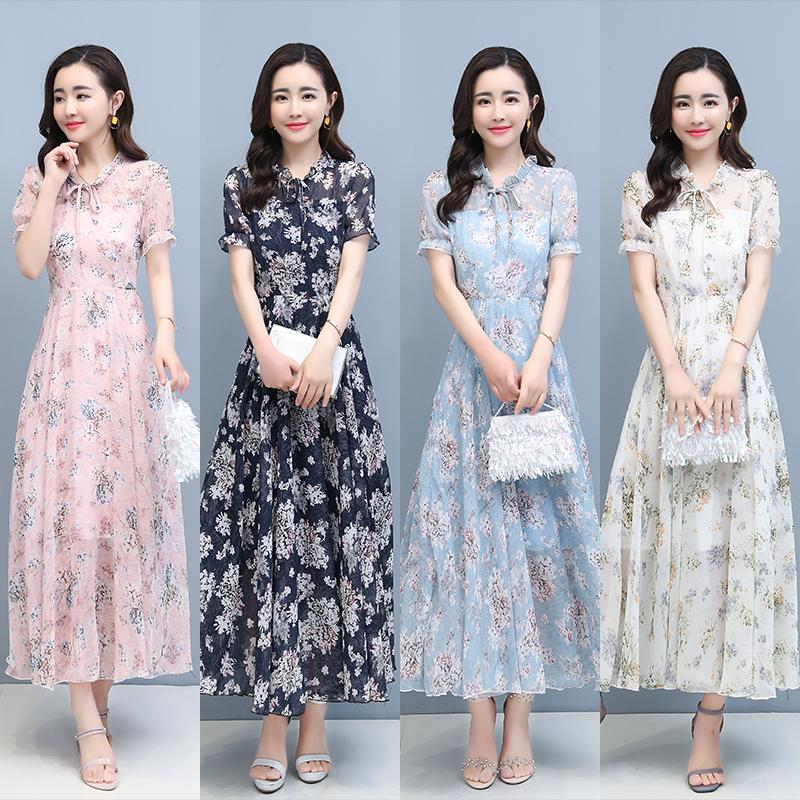 碎花雪纺连衣裙2021夏装新款女装长款气质仙女裙子到脚踝超仙