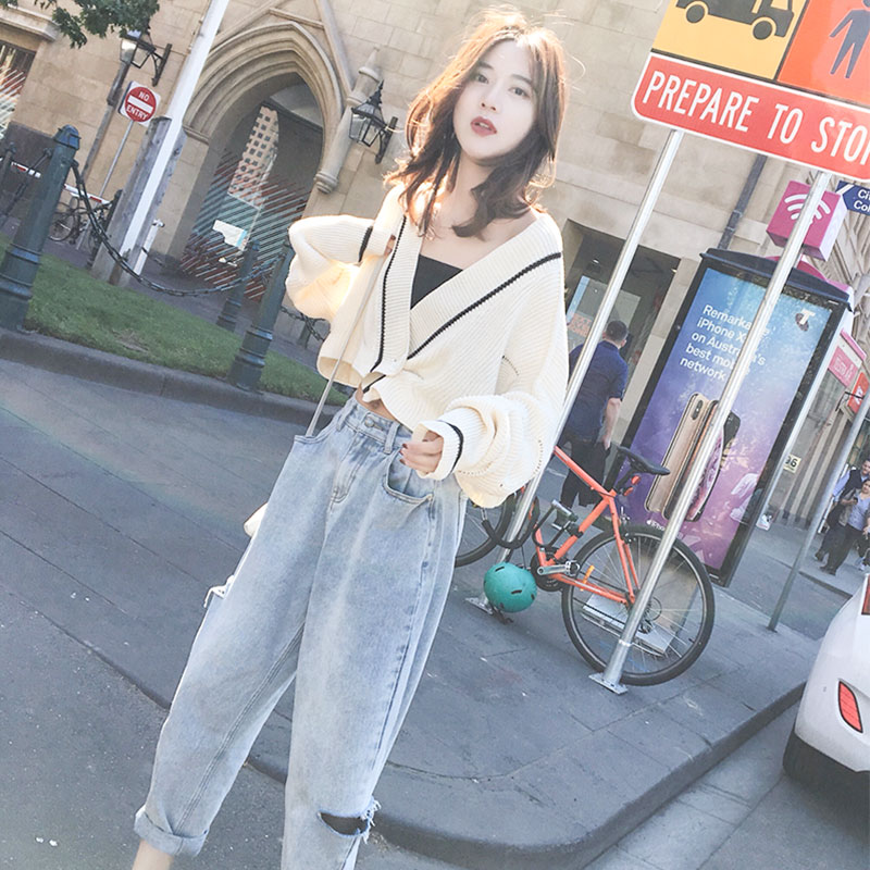 Lazy wind cardigan womens loose Korean high waist students with short ancient knitwear JK small coat autumn