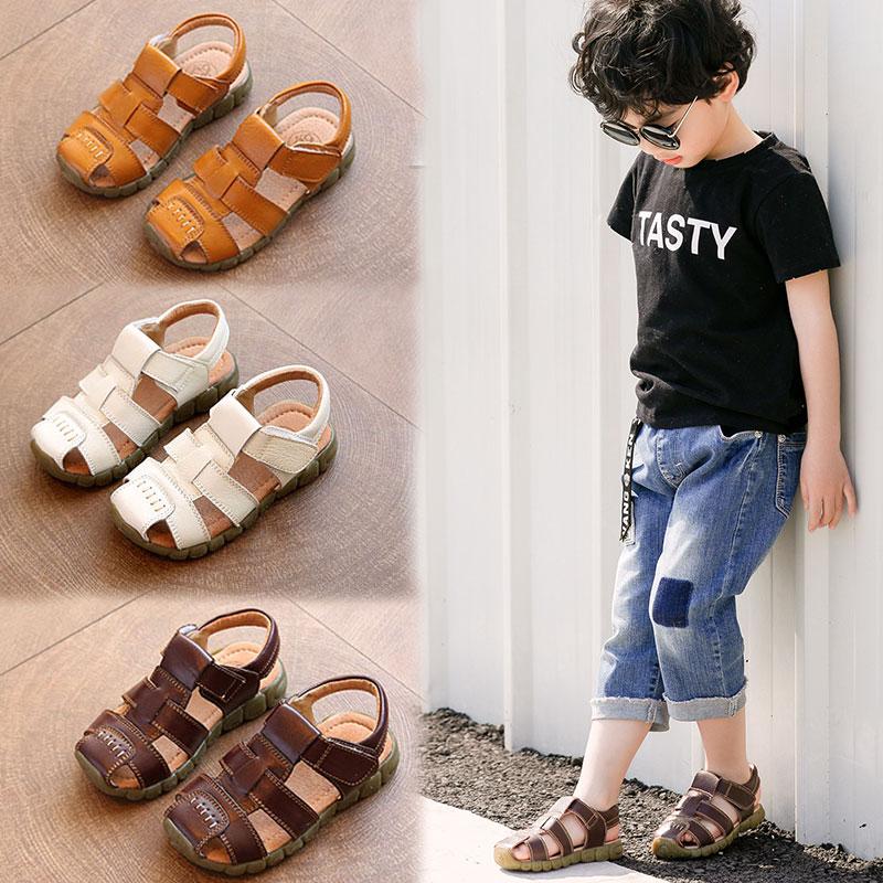 1-2岁3小童真皮男童凉鞋4包头儿童鞋子男孩防滑软底宝宝夏天小孩5